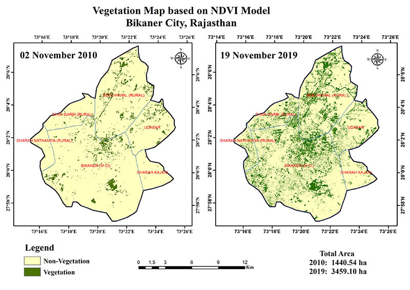Bikaner vegetation cover satellite image