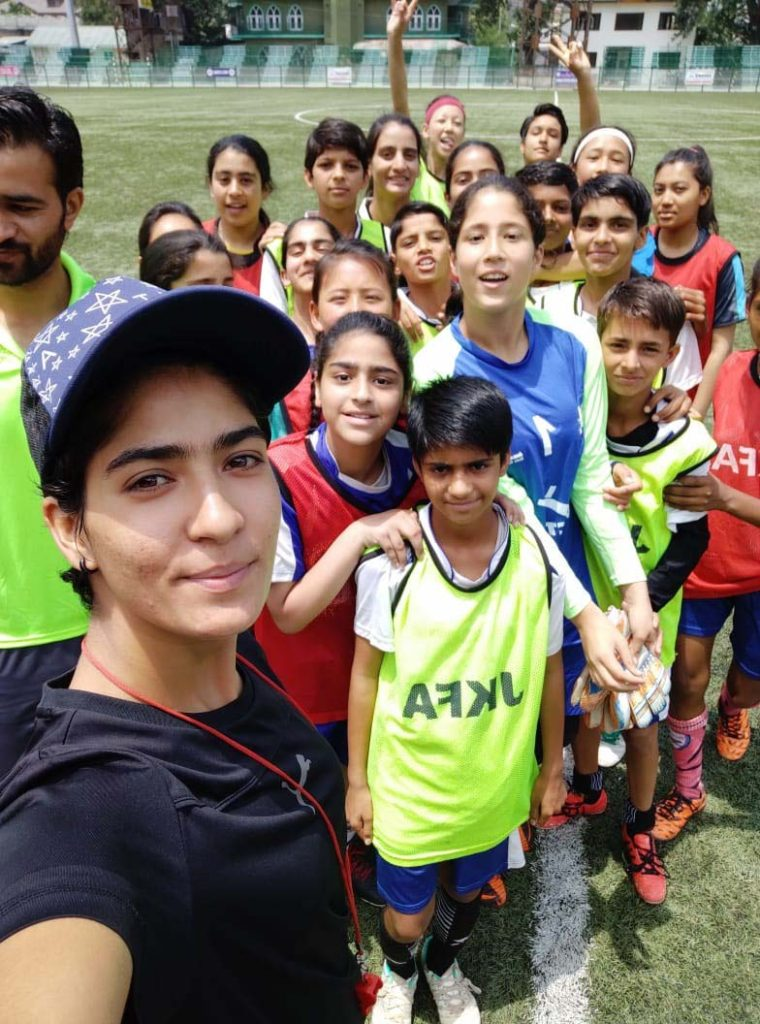 Nadia Nighat with football students in Srinagar