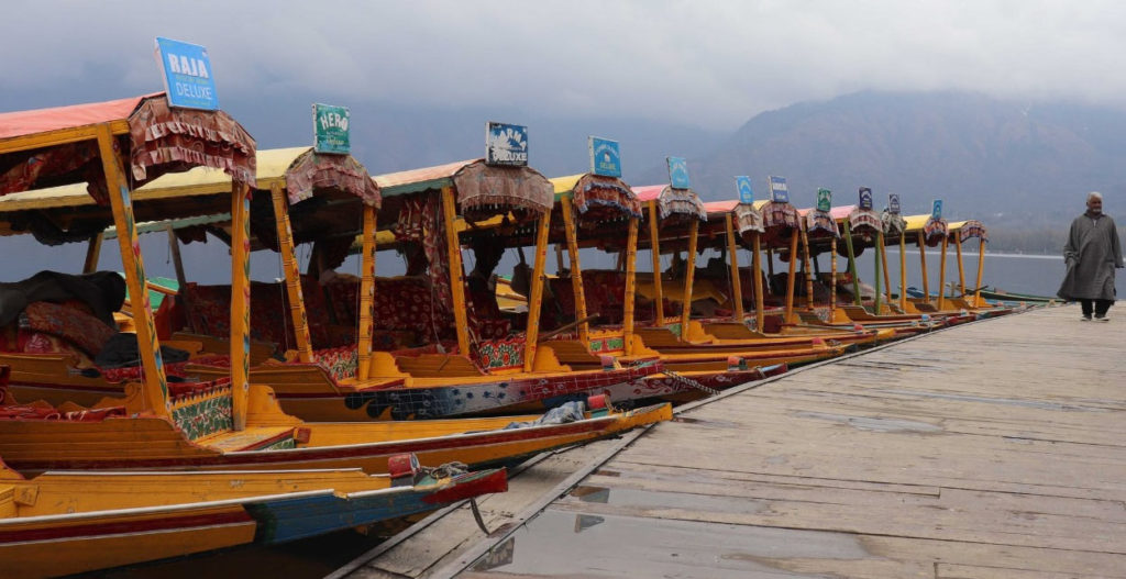 Idle boats at Dal Lake, Srinagar, by Wasim Nabi