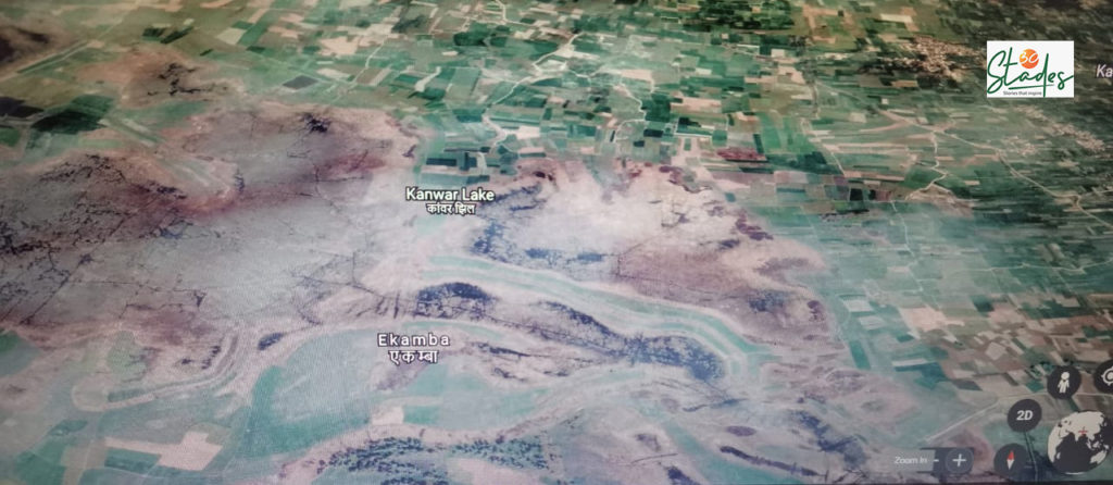 Encroachment for cultivation and construction around Kanwar Lake (patch in pale blue), is rapidly increasing. Pic: through Google Earth, taken on November 1, 2020/ 30Stades