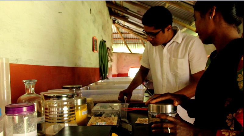Sourabh Mahato, founder of LifeCraft NGO, preparing dyes. Pic: LifeCraft NGO