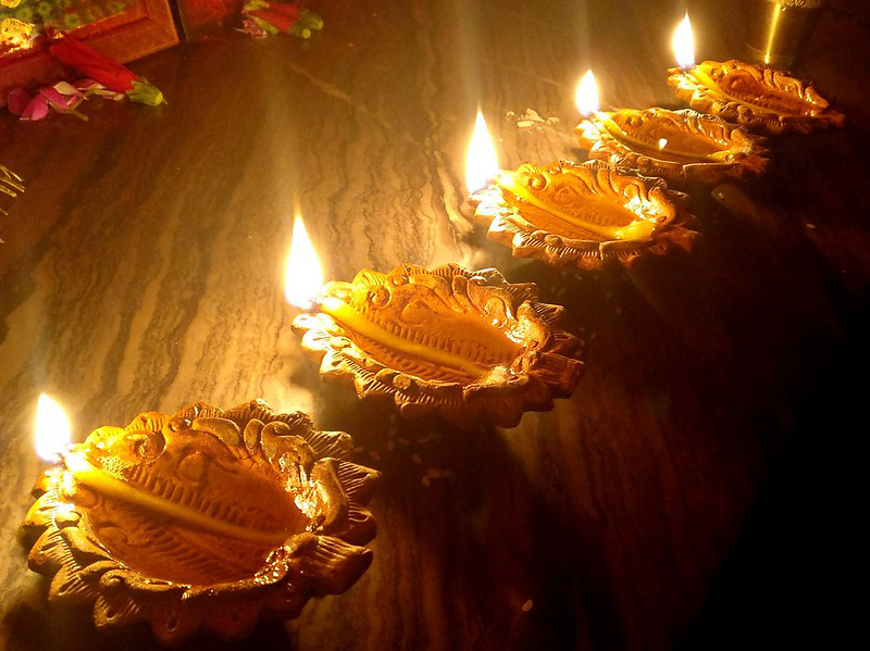 The earthen lamps brighten up homes during the five-day Diwali festival.