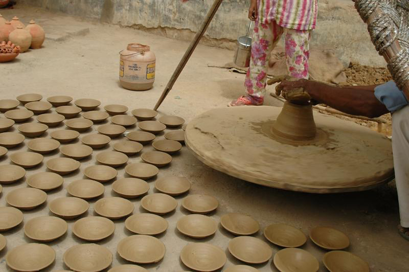 It is then put on the pottery wheel for preparing the pottery.