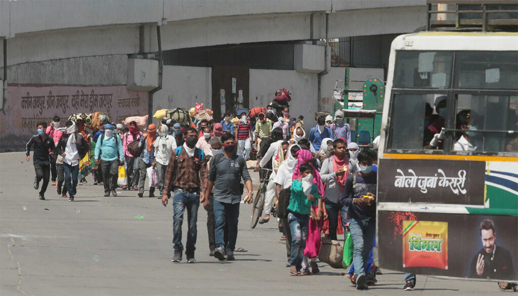 Nearly 1.06 crore migrant workers walked thousands of kilometres to reach home during the COVID lockdown. Some died in road accidents or due to exhaustion before reaching home. Pic: 30 Stades