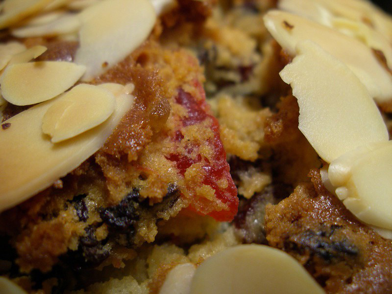 A closer look at the Dundee cake with murabba.