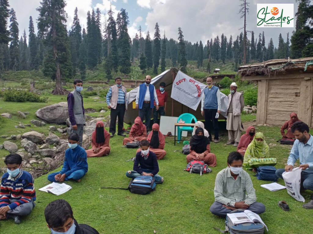 Teachers in many parts of India innovated methods to teach students who could not access online classes. Here, teachers in Kashmir running open-air classrooms. Pic: Rouf Fida