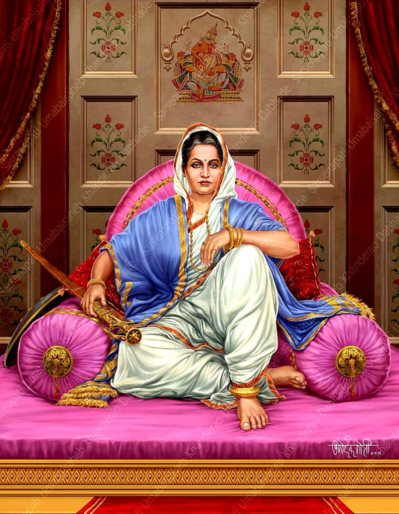 An old portrait of Sarsenapati Umabaisaheb Dabhade restored by her family