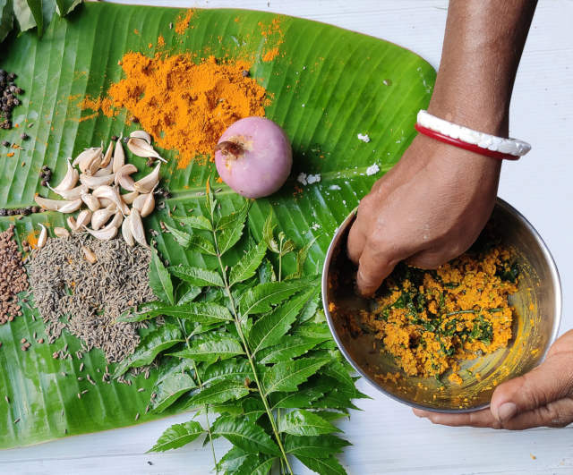 Herbal medicine being prepared for cows, which are not administered any antibiotics to ensure the purity of milk. Pic: Sundarini