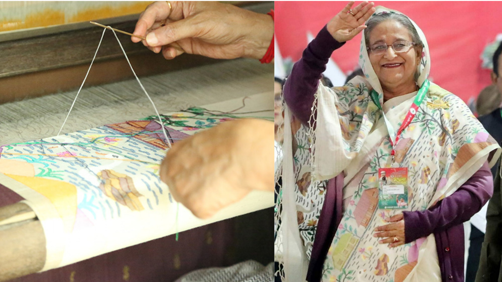 Biren Basak working on the pitloom (left) and Bangladesh Prime Minister Sheikh Hasina in his creation (Right). Pic: through Facebook/@BirenBasak1