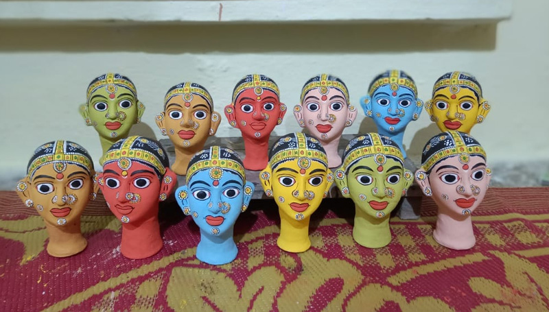 Smaller Cheriyal masks cost around Rs300 while the bigger ones range between Rs2000 and Rs3000. Pic: through Ganesh