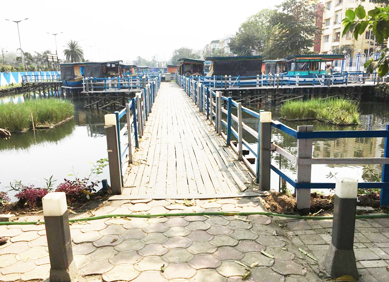 KMDA floating market project involved creation of bridges and pathways to navigate the boat stores besides a system to avoid water stagnation.