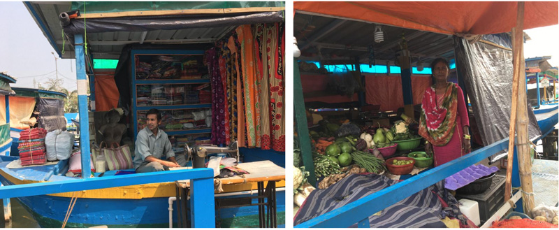 Sanjit Sil at his tailor shop in the floating market (left); Marjina comes from  Marjina from Champa Hati village to her shop every day.