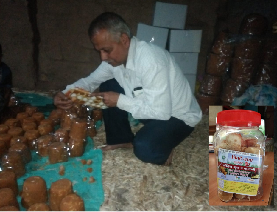 Sudhir Chivate packaging organic jaggery made on his farm. Pic: through Sudeep Chivate