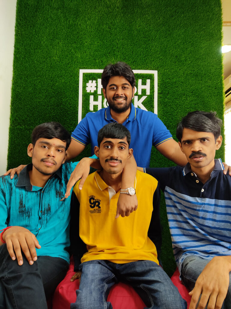 Manu Sekar with Prem Sankar (right) and other students. Pic: through HashHackCode