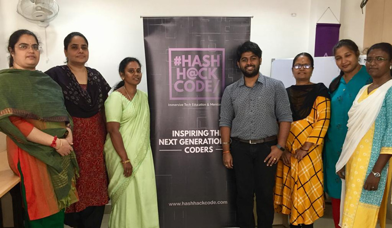Parents of students also learn to code at HashHackCode. Pic: through HashHackCode