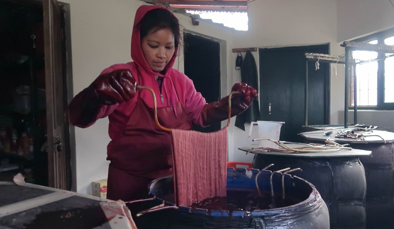 Energy-efficient dyeing process where drums are covered with electric blankets and insulated. The same water in a drum can be used for up to 6 months, minimising effluents. Pic: courtesy Himalayan Weavers 30 stades
