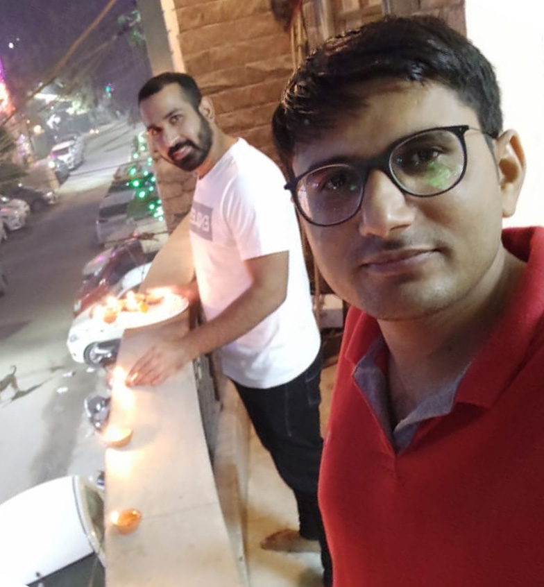 Bharat Soni celebrating Diwali 2020 with his friend at the hotel where he was put up by RML Hospital to avoid infecting others. Pic: Bharat Soni