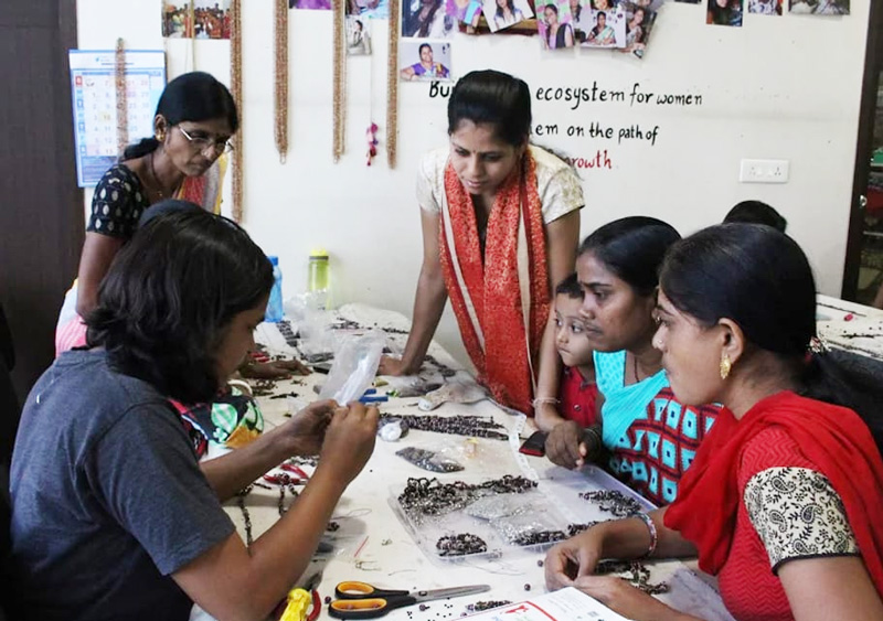 Women being trained in jewellery-making at Abira Creations, Pune. Pic: courtesy Abira Creations