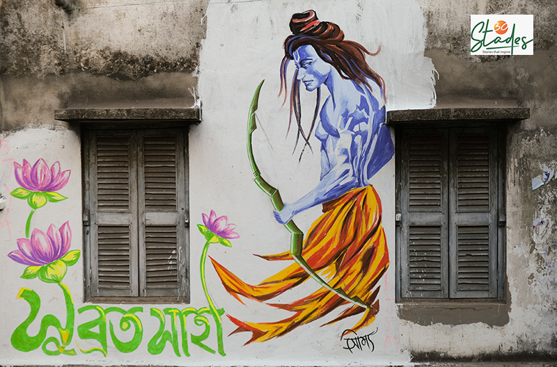 The graffiti depicts the fight between TMC's 'Khela Hobe' (The Game will happen) and BJP's 'Jai Shri Ram' (represented by Lord Rama). Pic: Soumik Kundu 30 stades