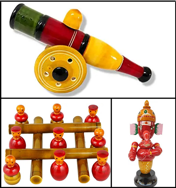 A wide range of toys and games are now made using Etikoppaka craft.
