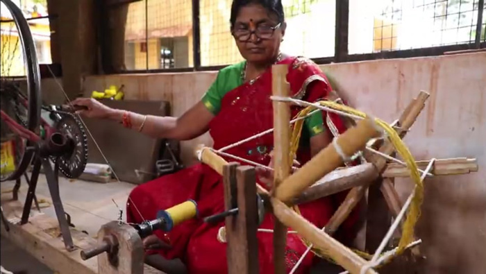 The process of Lambani embroidery starts with hand-spinning the yarn. Pic: SKKK