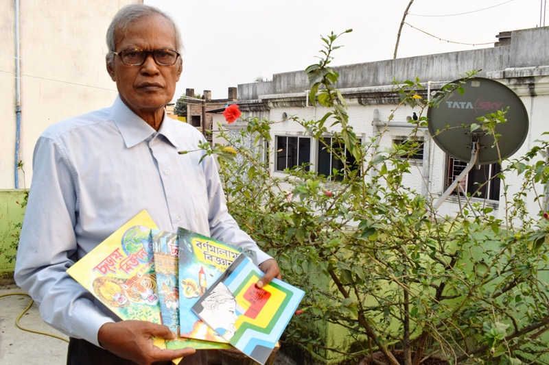 Krishnalal Maity's first book of rhymes was published in 1983. Pic: Partho Burman