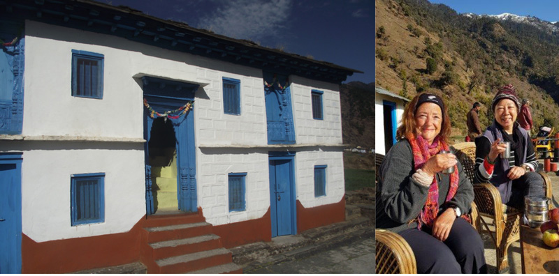 Guest House at Supi (left) and tourists having afternoon tea at Supi (right). Pic: through Village Ways