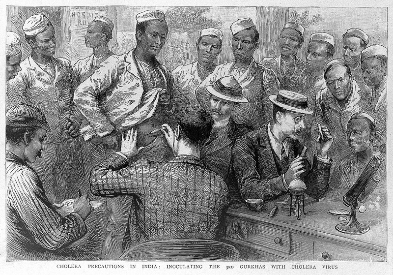 British doctors administering Cholera vaccine to members of the 3rd Gurkha Rifles during the 1893 epidemic . Pic:  Wellcome Library, London