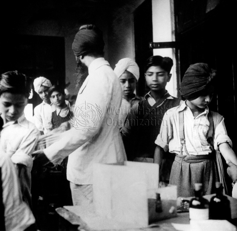 Boys from Sikh school having TB test before being given BCG vaccination in Simla, 1967. Source: WHO
