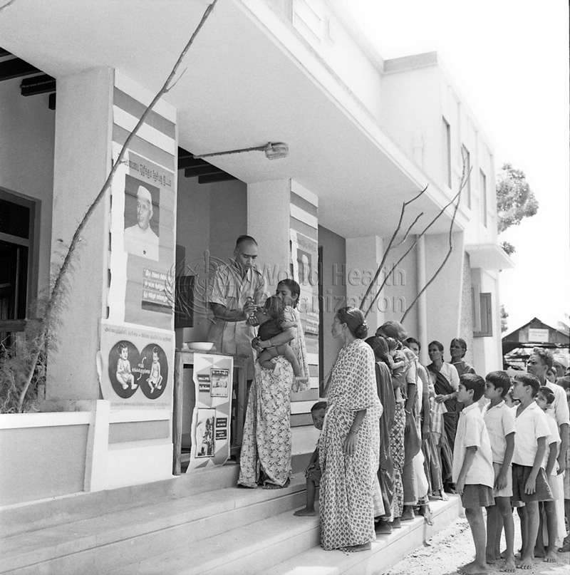 Small pox: Mass vaccination of villagers near Madras (now Chennai) in 1962. Source: WHO