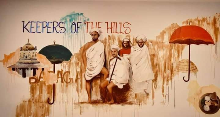 The walls of the restaurant have been hand painted, depicting the culture, food and life of Badagas. Pic: Nanga Hittu