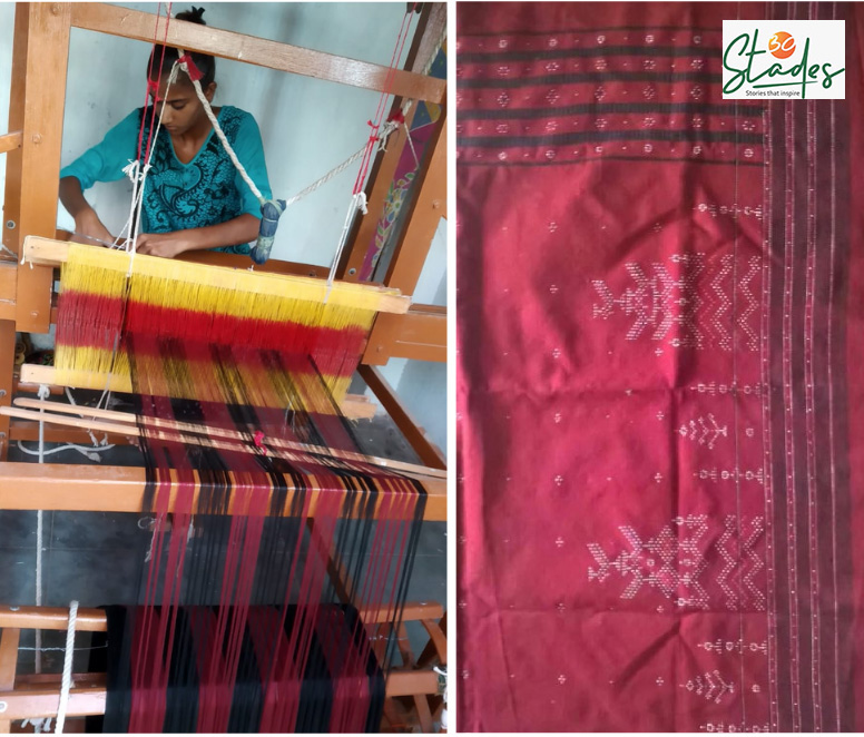 The next generation of Dangasia community is taking over the loom now. Chandubhai Rathod's daughter is weaving here. Pic: Chandubhai Rathod