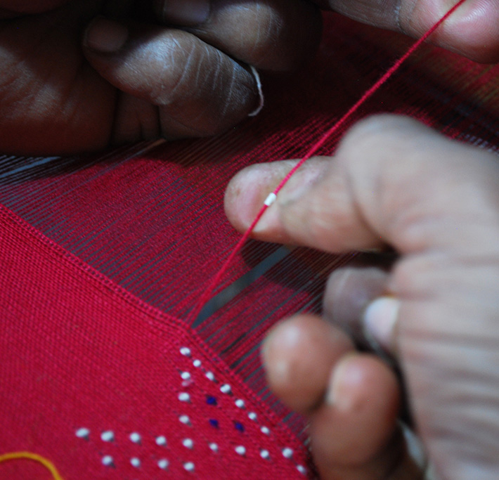 In Tangaliya weaving, raised dots or danas are woven into the fabric to create geometrical patterns. Pic: Baldevbhai Rathod