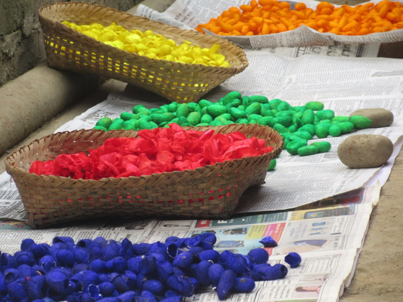 Cocoons are first dyed in natural colours and then cut to create handicrafts. Pic: Leima Liklang Nayin.
