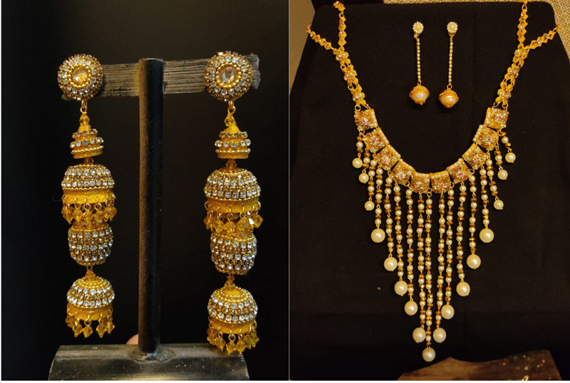 Earrings and neckpiece made from cocoons. Pic:  Leima Liklang Nayin.    30 stades