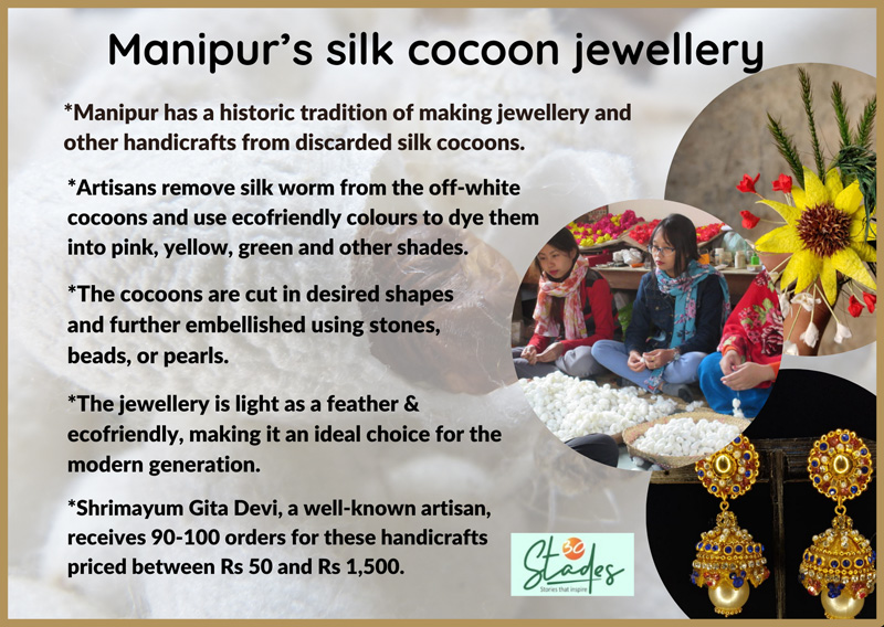 how is silk cocoon Manipuri jewellery made information infographic process 30 stades