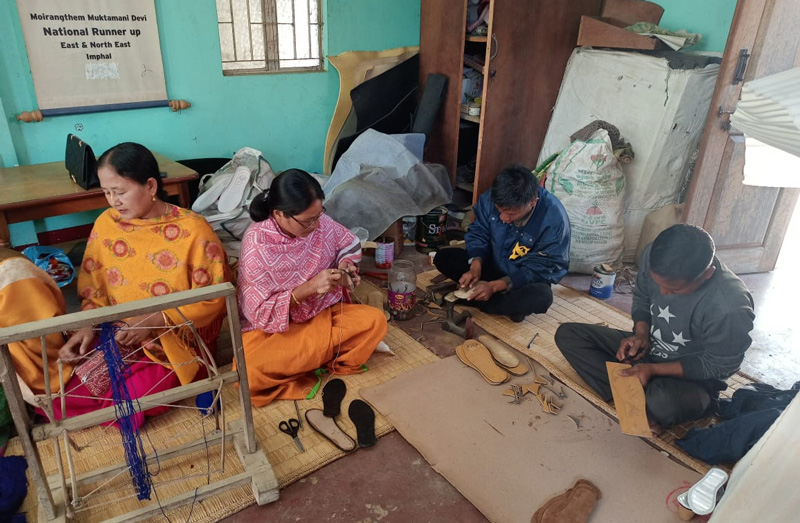 While men mostly cut the soles, women are responsible for knitting. Pic: Mukta Shoe Industry 30 stades