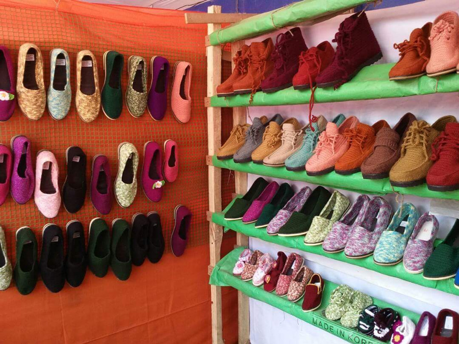 Mukta Shoe Industry receives  bulk orders from Australia, Japan, and Mexico for its woollen handmade shoes. Pic: Mukta Shoe 30 stades