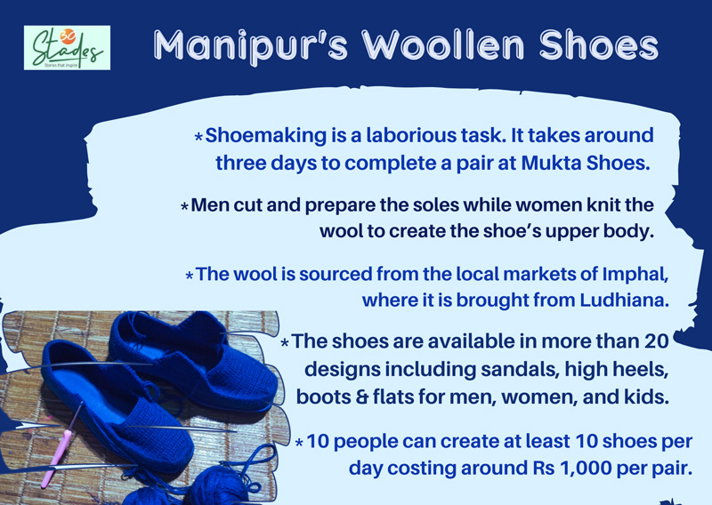 How are Manipur's Woollen shoes made? mukta shoe industry. information 30 stades