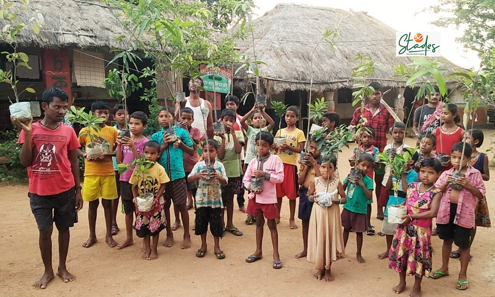 The plantation drive has been a success due to the contribution of children. Pic: Partho Burman 30stades