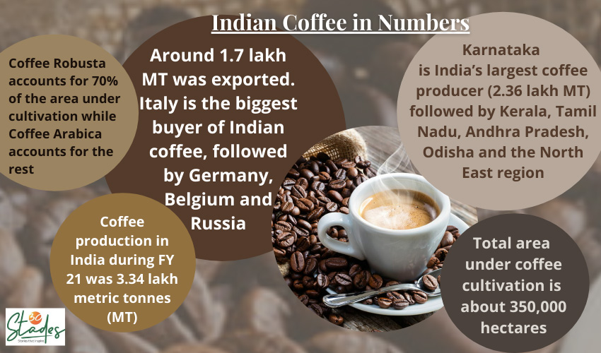 Coffee cultivation in India. Data source: Coffee Board. Infographic: 30Stades indian coffee statistics information infographic