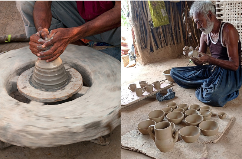 Chakda or potter's wheel on left; Ismailbhai working on his pots (right). Pic: Ismailbhai 30 stades