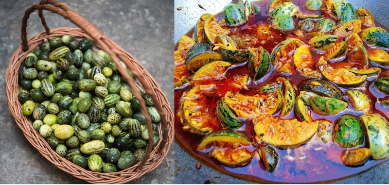 Left: Kachri or wild melon found in arid western region of India and its pickle (right).