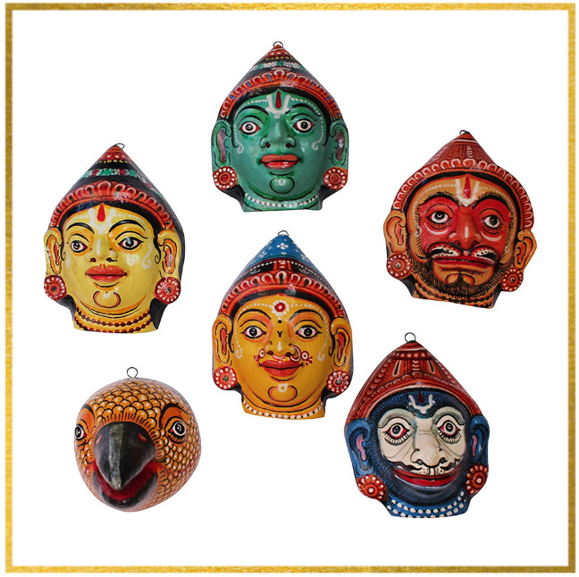 Paper-mâché masks made from waste paper at Raghurajpur. Pic: Flickr 30stades