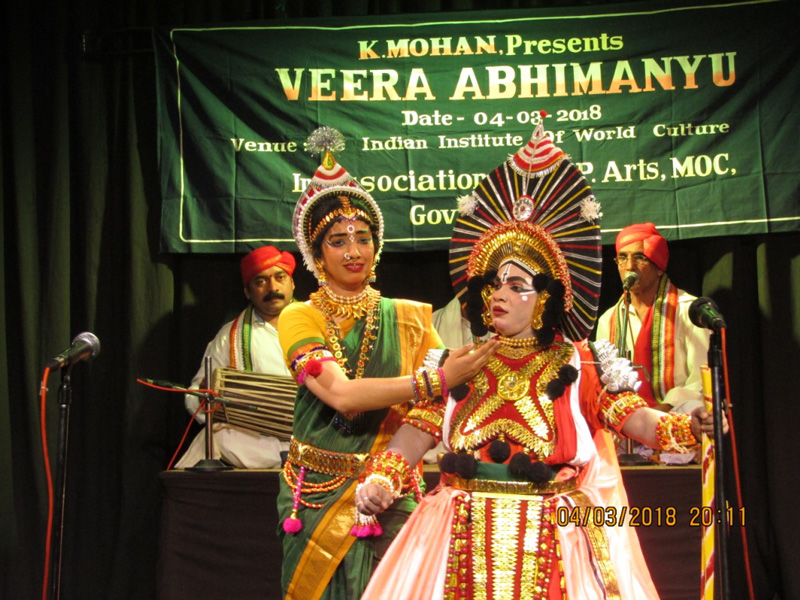 A Yakshagana performance based on Mahabharata's story of Abhimanyu. Mummela or foreground actors are performing the dance drama and the himmela or background musicians are led by the Bhagavatha or lead singer. Pic: courtesy Priyanka Mohan
