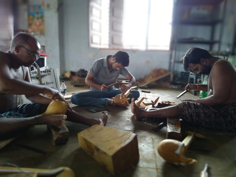 S Raj Sekhar working in his workshop with other family members. Pic: through S Raj Sekhar 30 stades