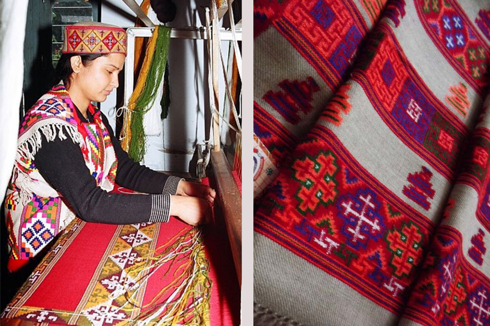 GI-tagged Kullu shawls are known for their geometrical patterns and bright colours. Pic: Flickr/Bhuttico 30stades