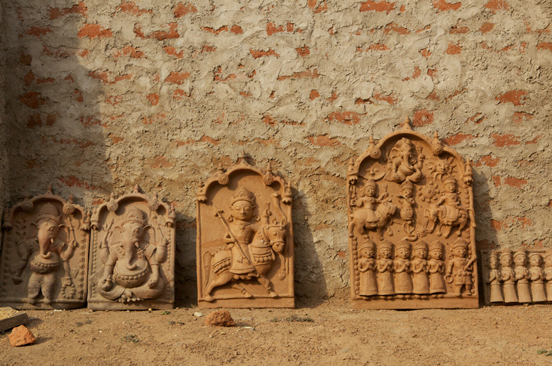 Molela terracotta plaques being dried in sun before being fired. Pic: Flickr