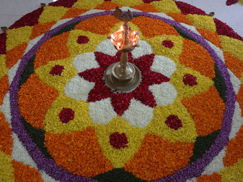 It is considered auspicious to make Pookalam or Poohkalam during Onam. Pic: Flickr 30 stades Kerala rangoli