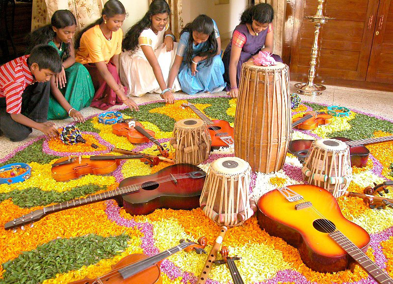 Every household, temple and office in Kerala is decorated with flowers and lights during Onam. Pic: Flickr